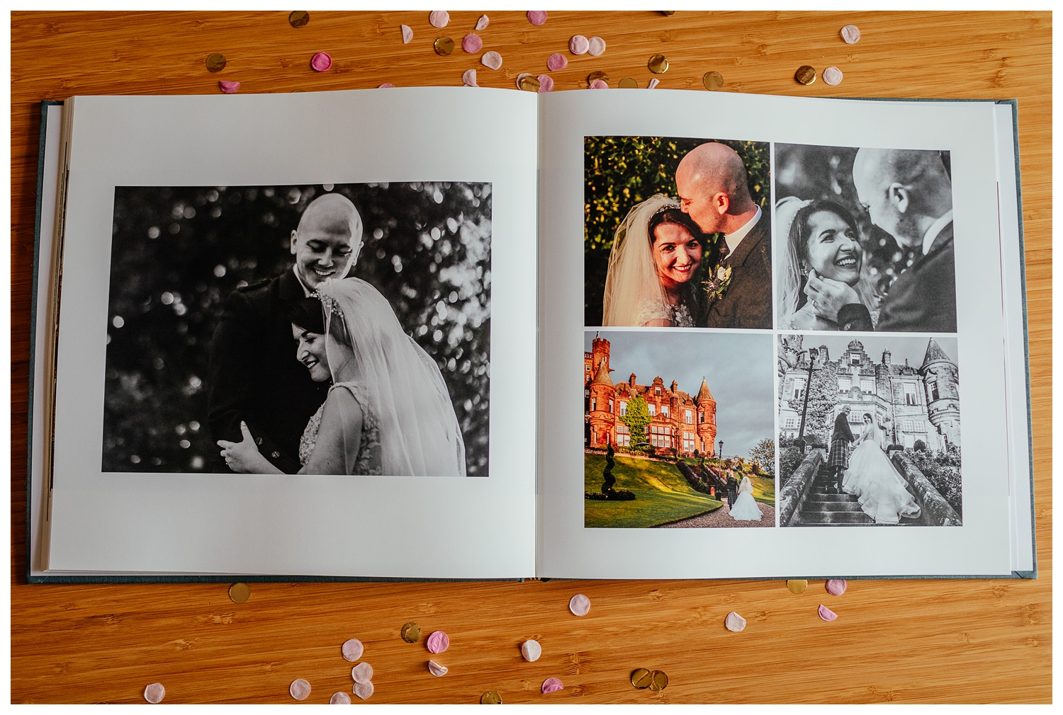 lay flat coffee table wedding album photo book example by Fotomaki Photography