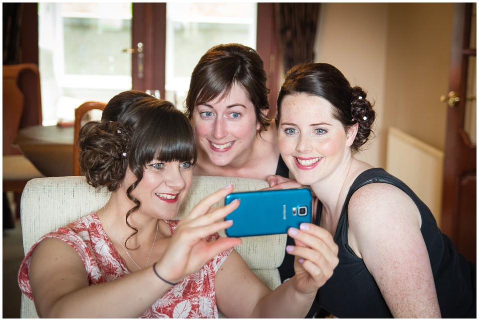 Banchory Lodge Wedding Aberdeen Prep Getting Ready Bride Bridesmaids Selfie