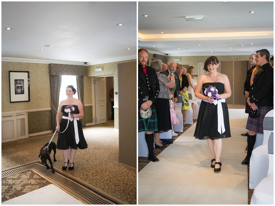 Banchory Lodge Wedding Aberdeen Ceremony Aisle Dog