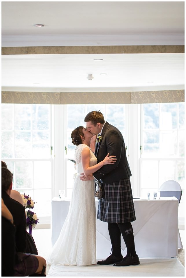 Banchory Lodge Wedding Aberdeen Ceremony First Kiss