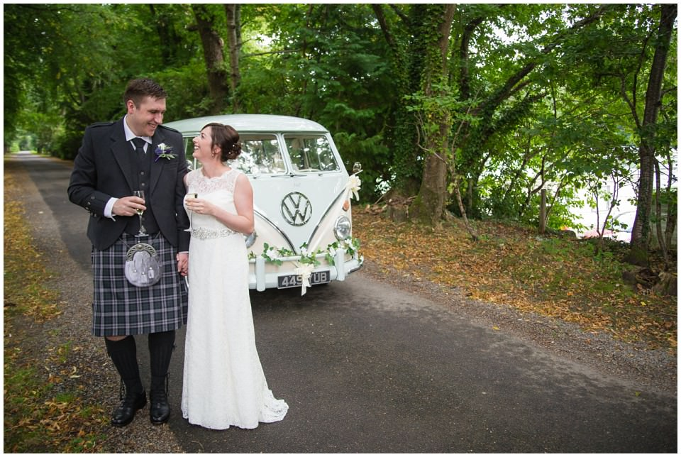 Banchory Lodge Wedding Aberdeen Bride Groom Portraits VW Van