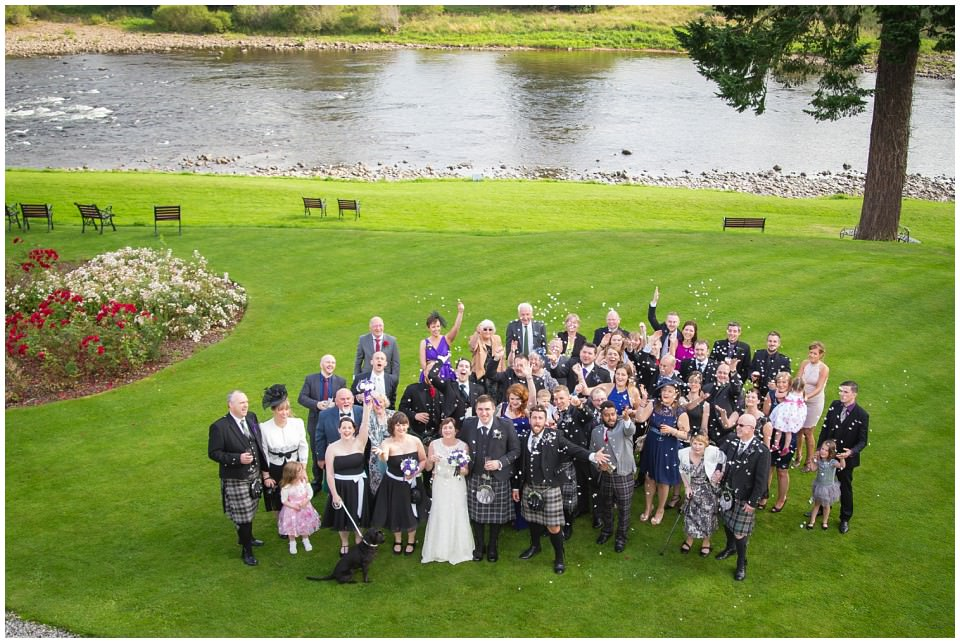 Banchory Lodge Wedding Aberdeen Group Photo River Dee
