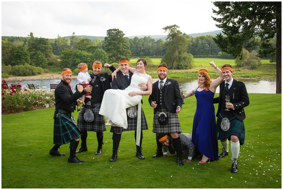 Banchory Lodge Wedding Aberdeen Group Photo Tough Mudder River Dee