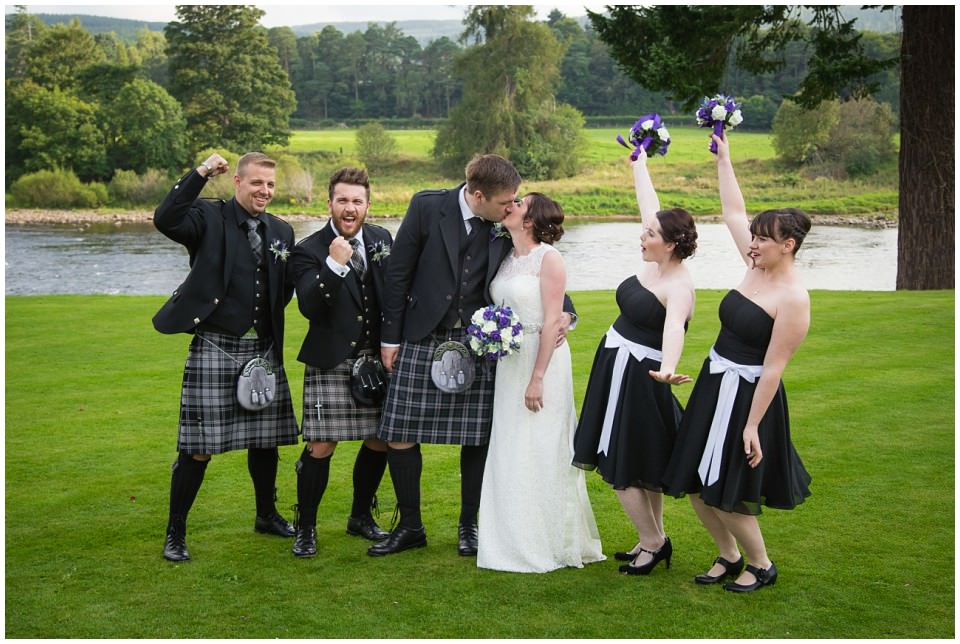Banchory Lodge Wedding Aberdeen Group Photo Bridal Party River Dee