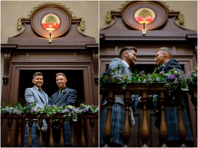 same sex gay trades hall glasgow wedding styled shoot a