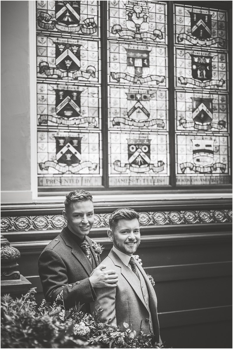 same sex gay trades hall glasgow wedding styled shoot