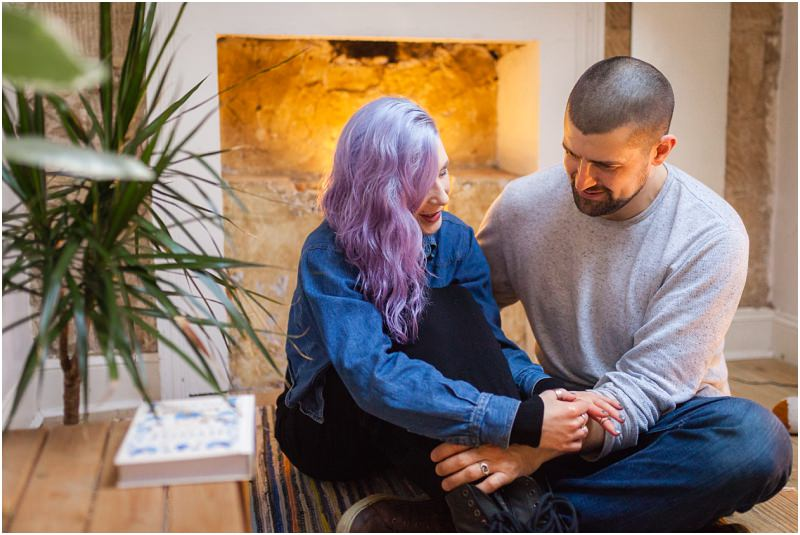 alternative goth rock couples engagement shoot session fife scotland purple hair