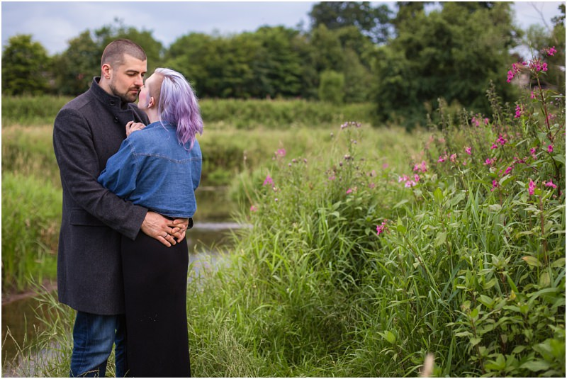 alternative couples engagement shoot session fife scotland purple hair
