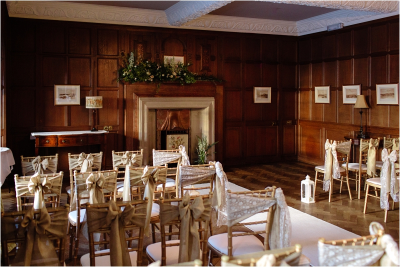 Rowallan Castle Wedding Ceremony Set Up Chairs Bows