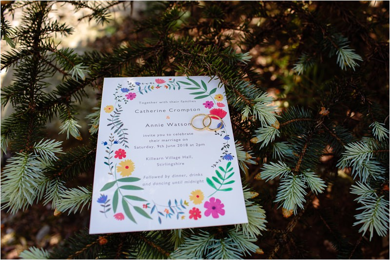 three sisters bake killearn village hall wedding invitations with rings