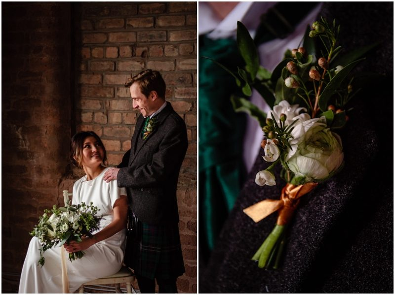 Engine Works Warehouse Wedding Venue Glasgow Flossy Dossy Dress Briar Rose Design Flowers Bouquet A1 Kilt Hire Buttonhole