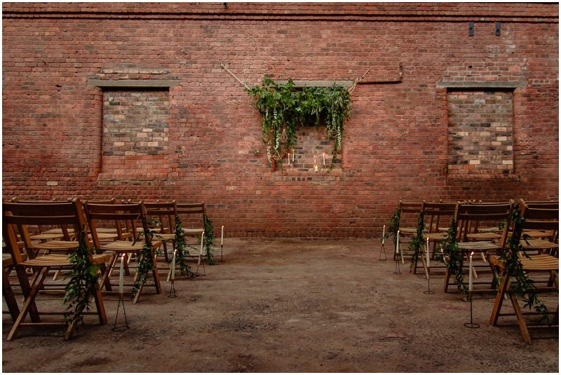 Engine Works Warehouse Wedding Venue Glasgow Briar Rose Design Floral Geometric Installation
