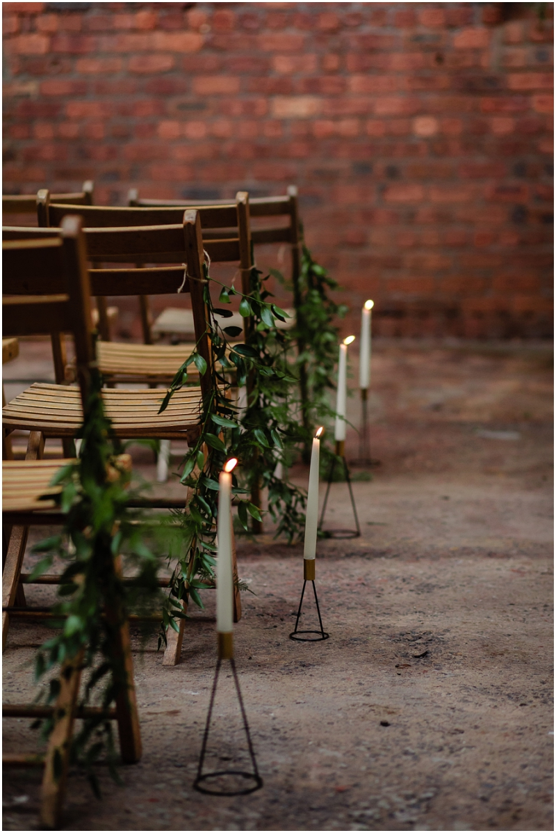 Engine Works Warehouse Wedding Venue Glasgow Briar Rose Design Chair Decor Florals Wooden bench Hire