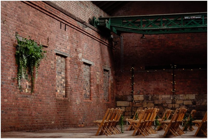 Engine Works Warehouse Wedding Venue Glasgow Briar Rose Design Floral Installation Wooden bench Hire