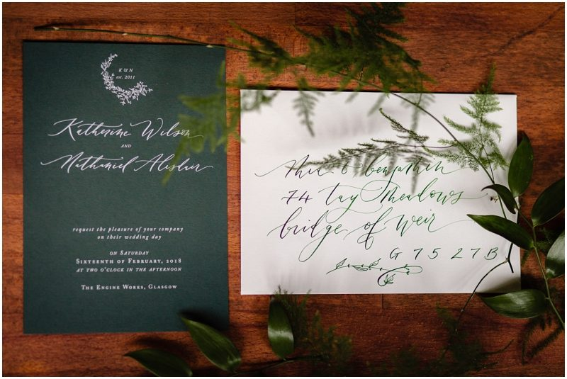 Engine Works Warehouse Wedding Venue Glasgow Laura E Patrick hand lettered Wedding Stationery Custom Calligraphy