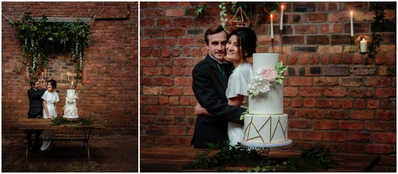 Engine Works Warehouse Wedding Venue Glasgow Rosewood Cakes Geometric White Gold Pink Wedding Cake