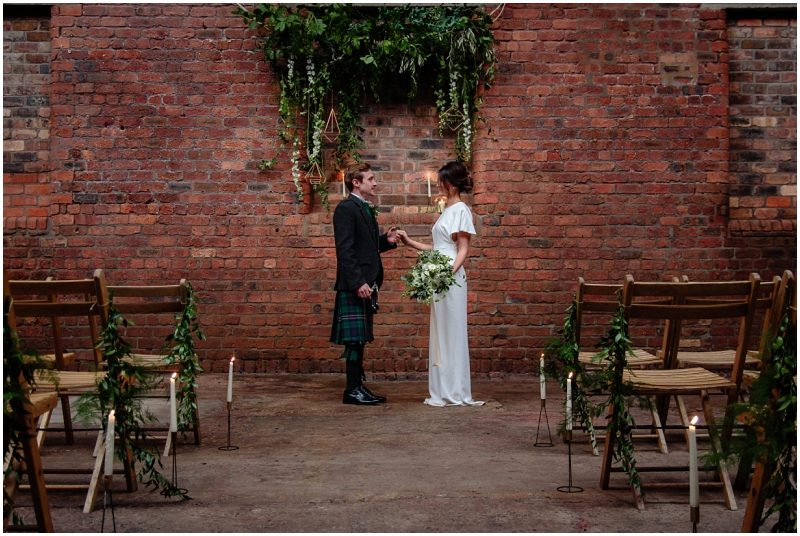 Engine Works Warehouse Wedding Venue Glasgow Flossy Dossy Dress Briar Rose Design Flowers Bouquet