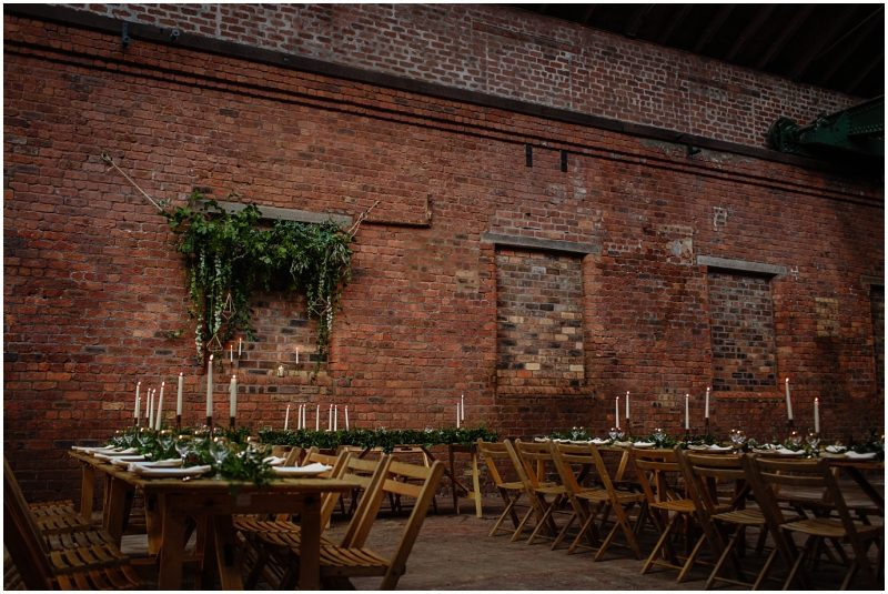Engine Works Warehouse Wedding Venue Glasgow Briar Rose Design Table Flowers Centrepieces Green Cockatoo Glasses Bespoke Catering Crockery Make Believe Events Linens Wooden Bench Hire Tables Chairs