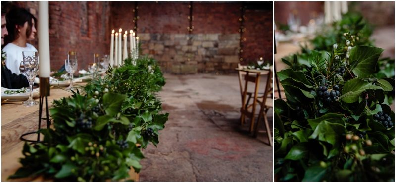 Engine Works Warehouse Wedding Venue Glasgow Briar Rose Design Table Flowers Garland Wooden Bench Hire Tables Chairs