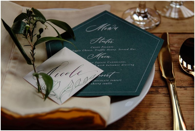 Engine Works Warehouse Wedding Venue Glasgow Laura E Patrick hand lettered Wedding Stationery Menu Placename Custom Calligraphy