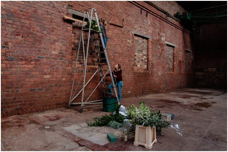 Engine Works Warehouse Wedding Venue Glasgow Behind The Scenes Hanging a Floral Installation with Briar Rose Designs