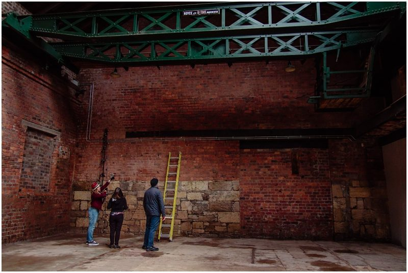 Engine Works Warehouse Wedding Venue Glasgow Behind The Scenes Hanging Lights with Fin Flukra Chris Kelly Films