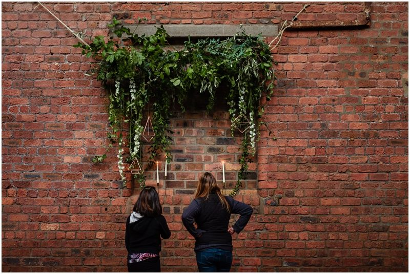 Engine Works Warehouse Wedding Venue Glasgow Behind The Scenes Hanging a Floral Installation with Briar Rose Designs Fin Flukra
