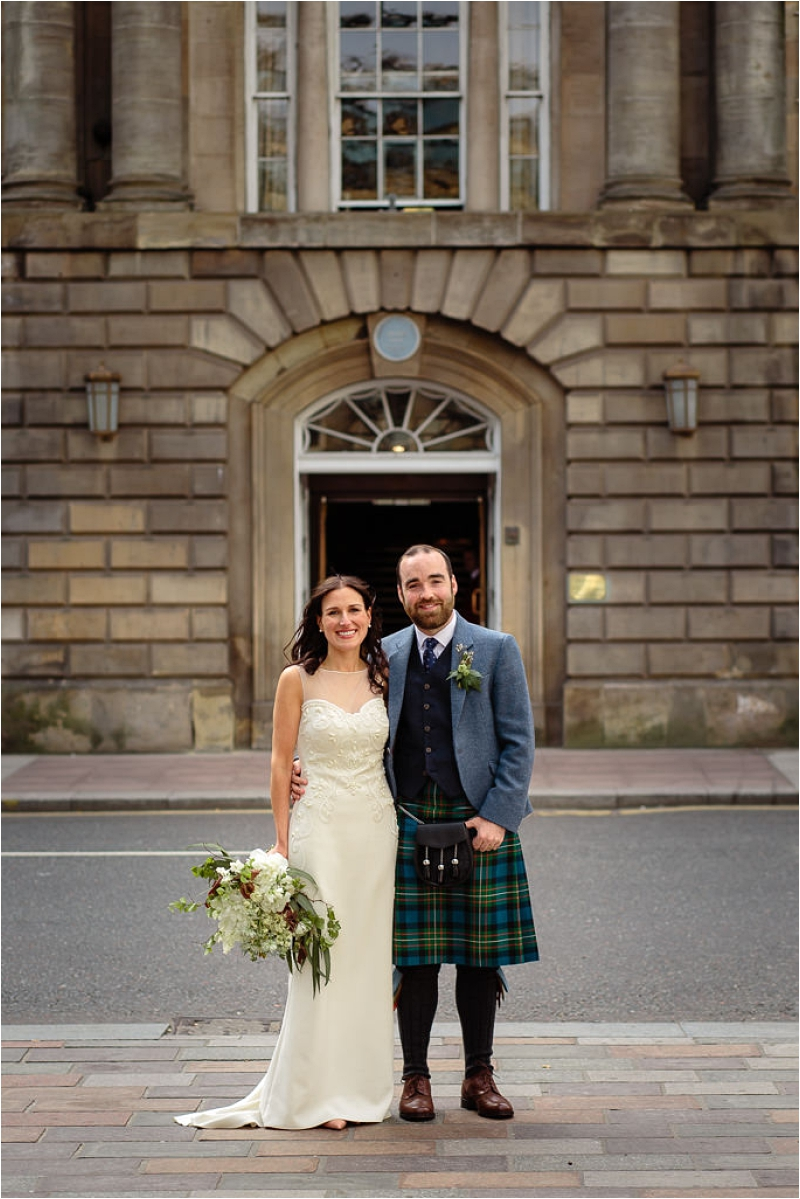Bride & Groom outside Trades Hall Glasgow on Wedding Day