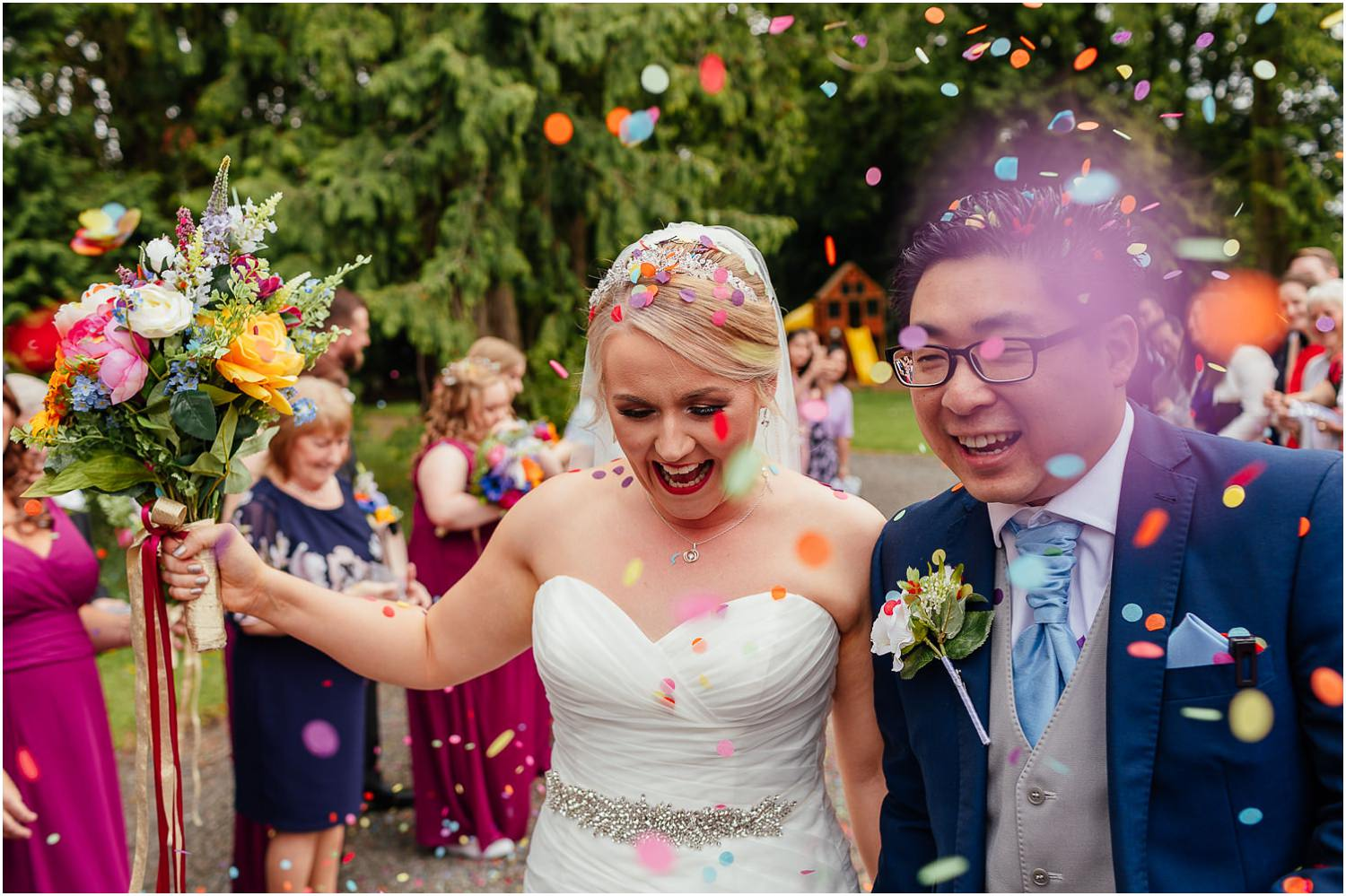 Cornhill Castle Wedding Groom Bride colourful confetti Photo Chinese Scottish Wedding
