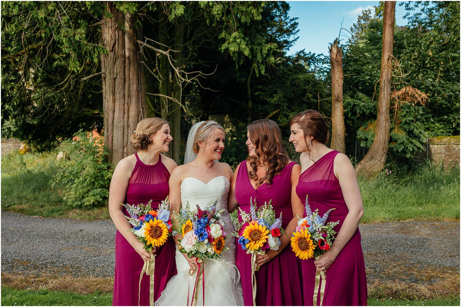 Cornhill Castle Wedding Happy Laughing Bride Bridesmaids Purple Dresses Photo Chinese Scottish Wedding
