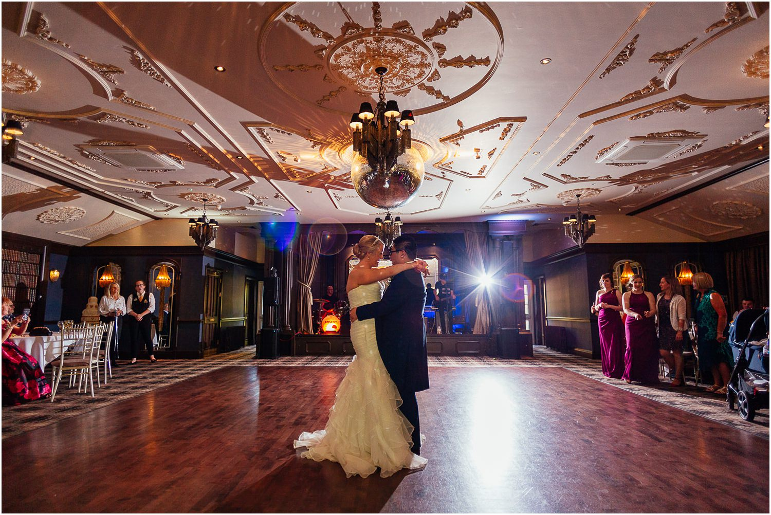 Cornhill Castle Wedding Happy Laughing Bride Groom First Dance Photo Chinese Scottish Wedding