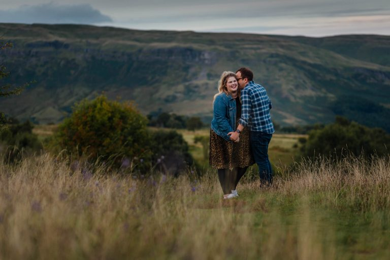 couples pre wedding shoot in glasgow hills mugdock campsies