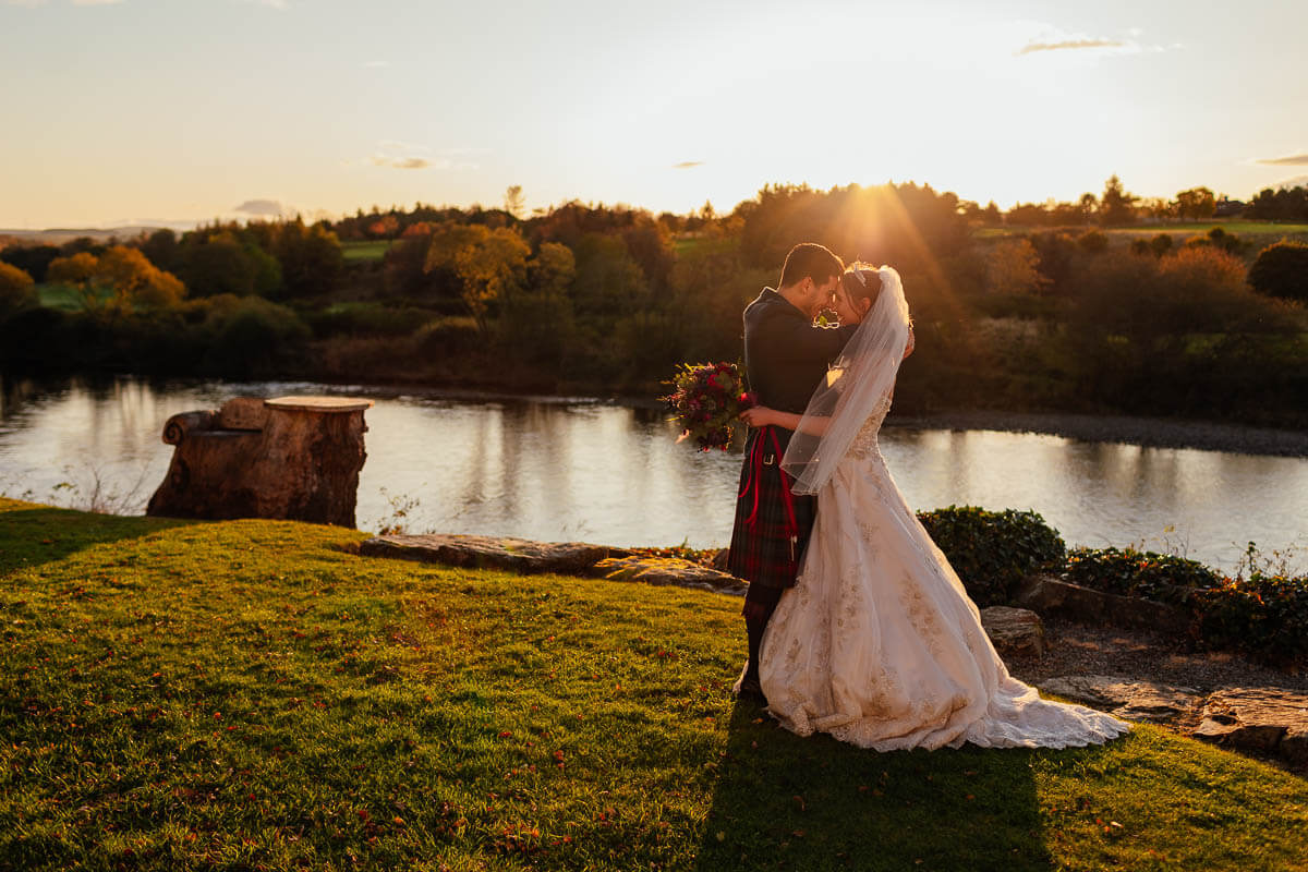 bride groom portraits in golden hour sunset at scotland mini wedding WIN a Wee Wild Wedding