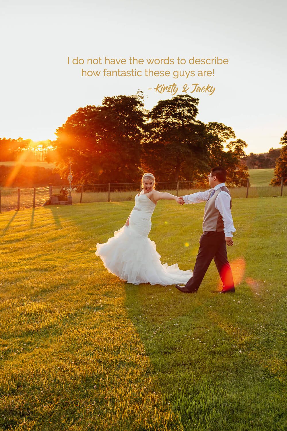 colourful wedding photographer glasgow fotomaki photography reviews feedback from wedding clients bride groom laughing in garden at sunset at cornhill castle
