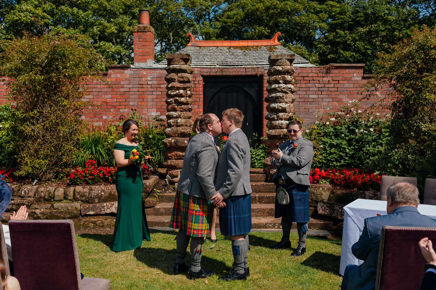 Ayrshire Wedding Piersland House Troon Outdoor Ceremony Same Sex Gay Wedding First Kiss