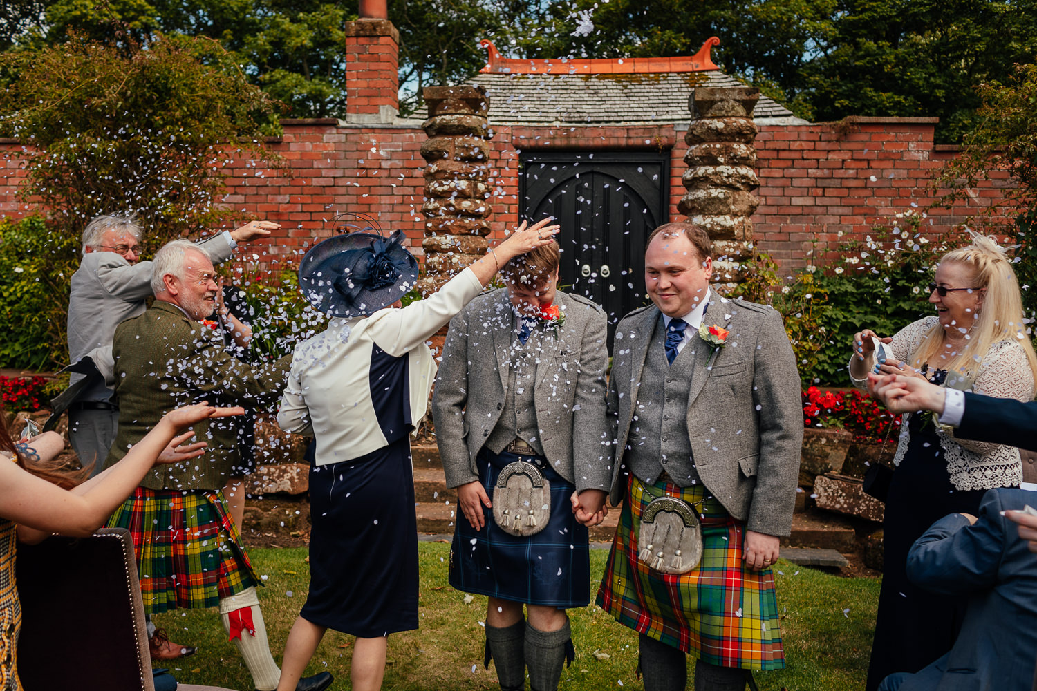 Ayrshire Wedding Piersland House Troon Outdoor Ceremony Same Sex Gay Wedding Confetti