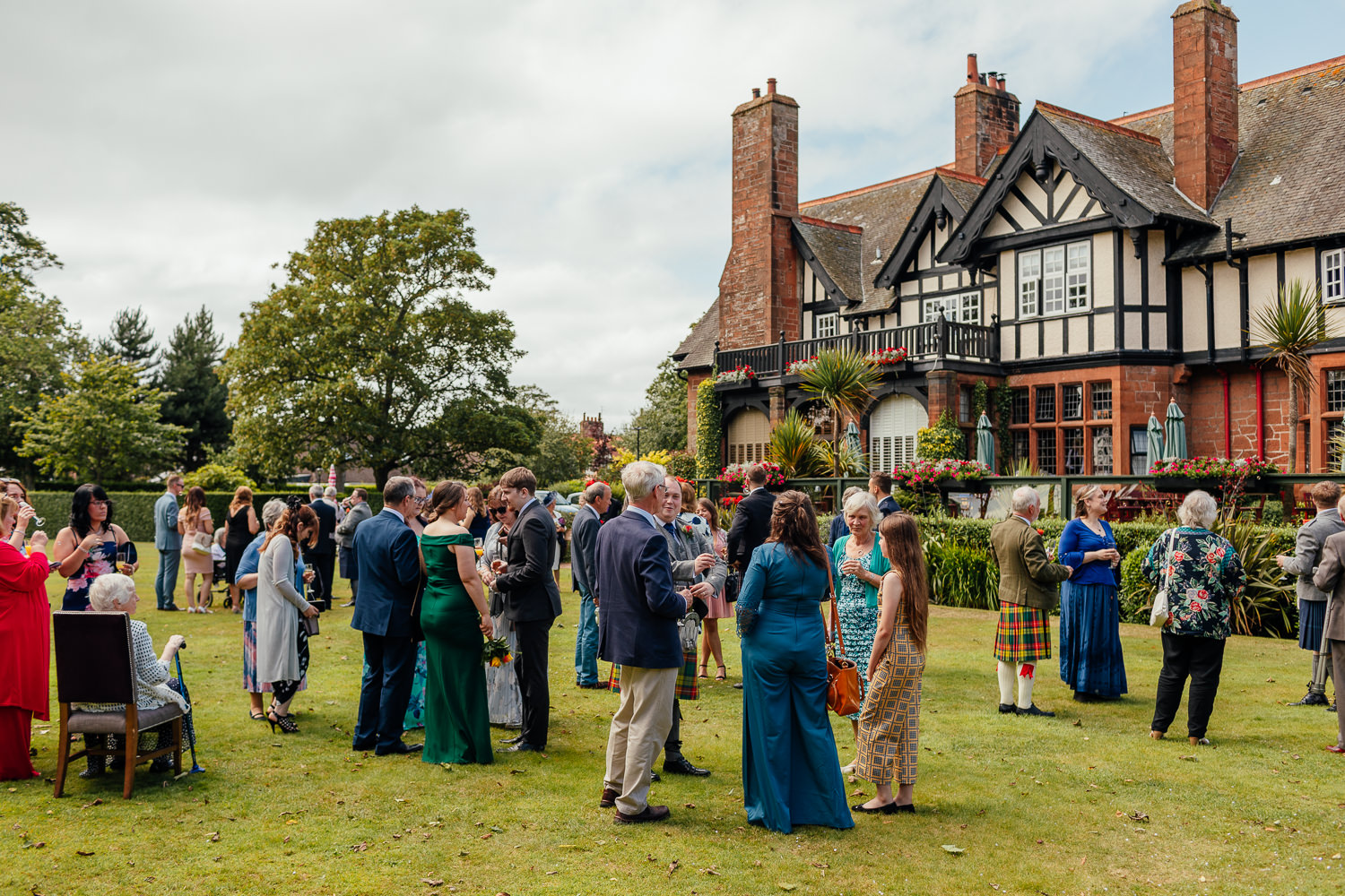 Ayrshire Wedding Piersland House Troon Outdoor Guests Mingling