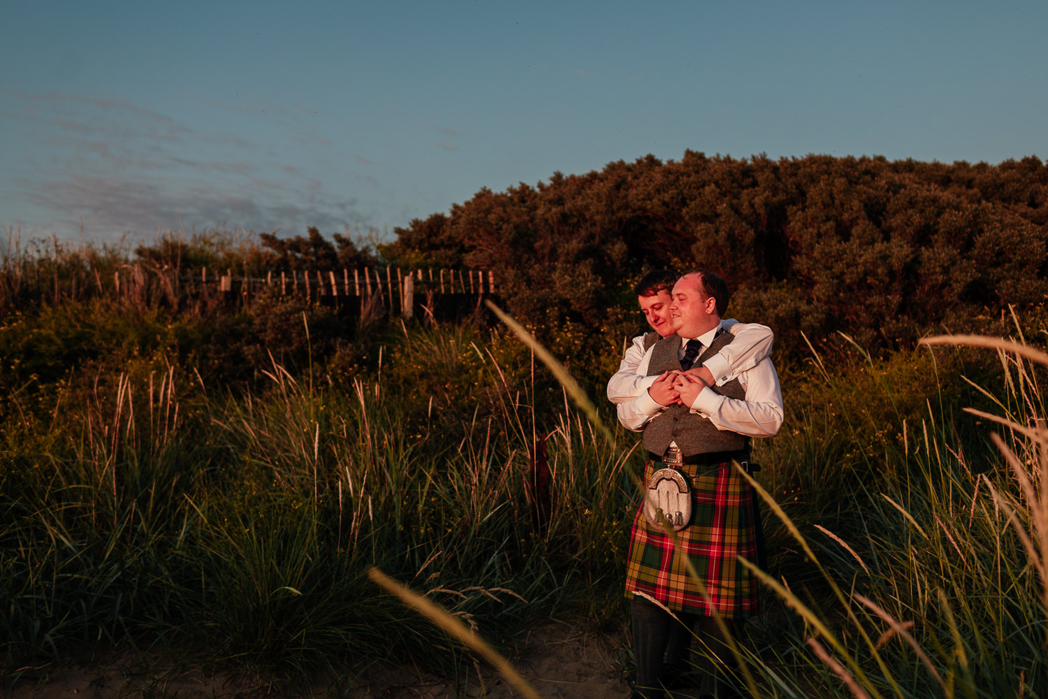 Ayrshire Wedding Piersland House Troon Beach Same Sex Gay Wedding Sunset Golden Hour Portraits