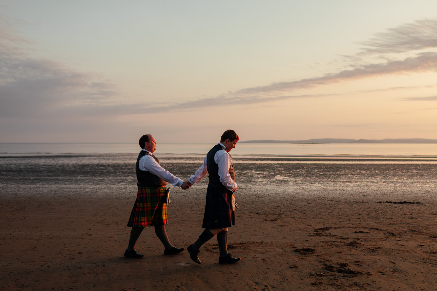Ayrshire Wedding Troon Beach Same Sex Gay Wedding Sunset Golden Hour Portraits