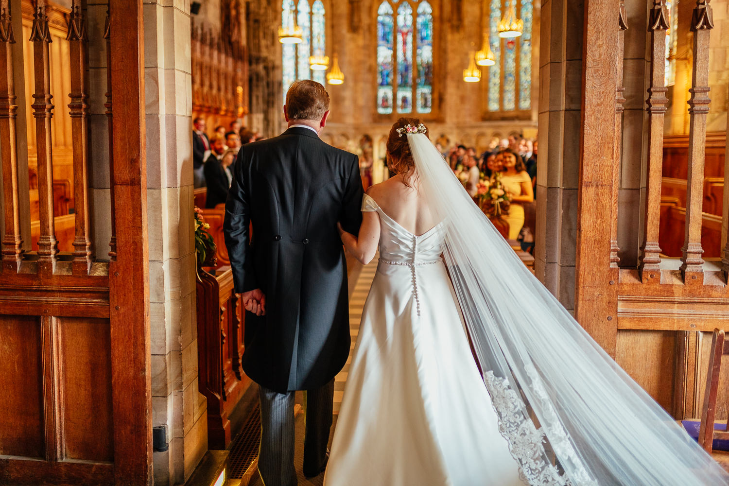 St Andrews Wedding Photos St Salvators Chapel Wedding Ceremony Bride Dad Entrance Walking in