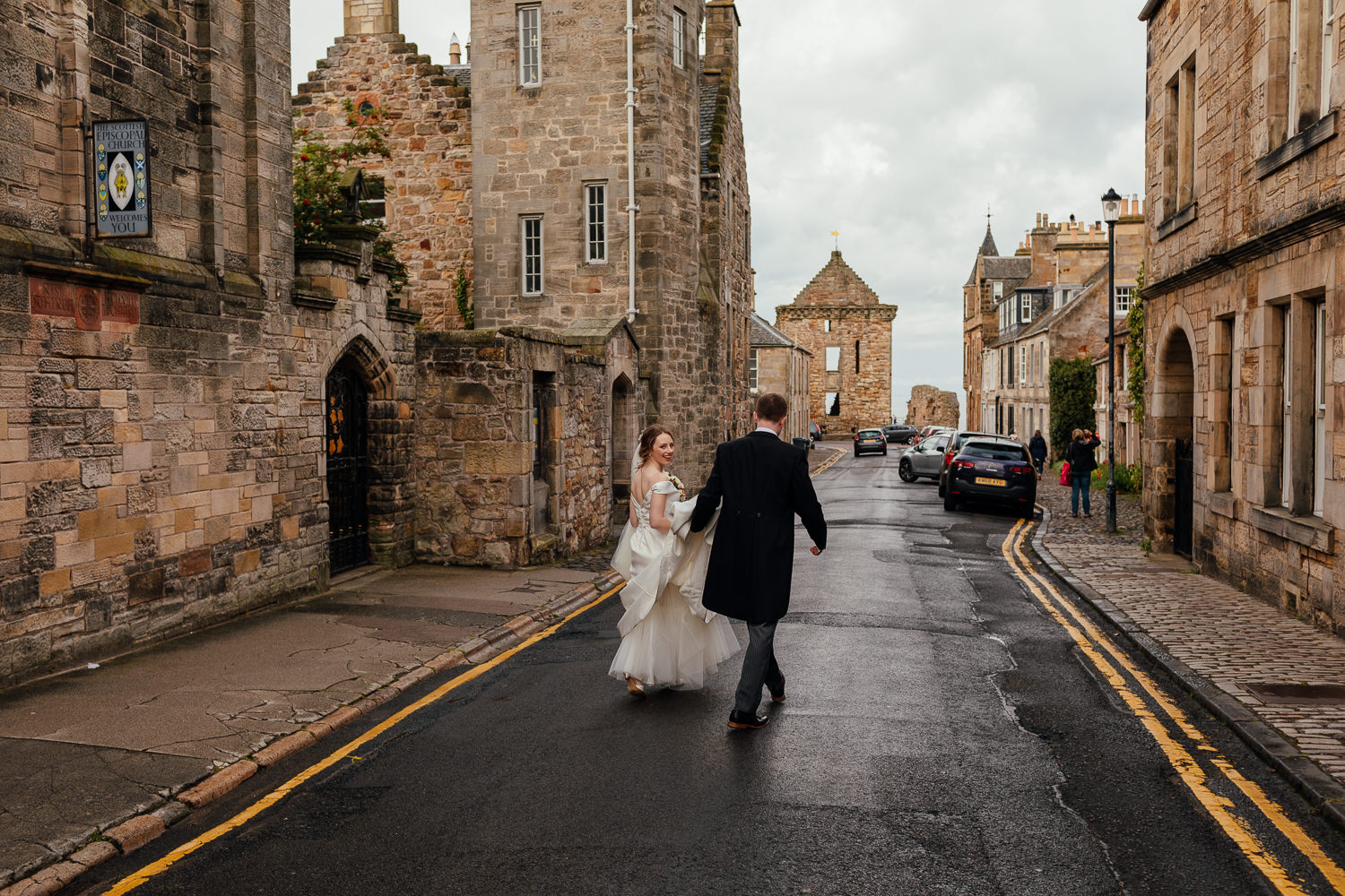 St Andrews Wedding Cathedral Portraits Bride Groom Walking