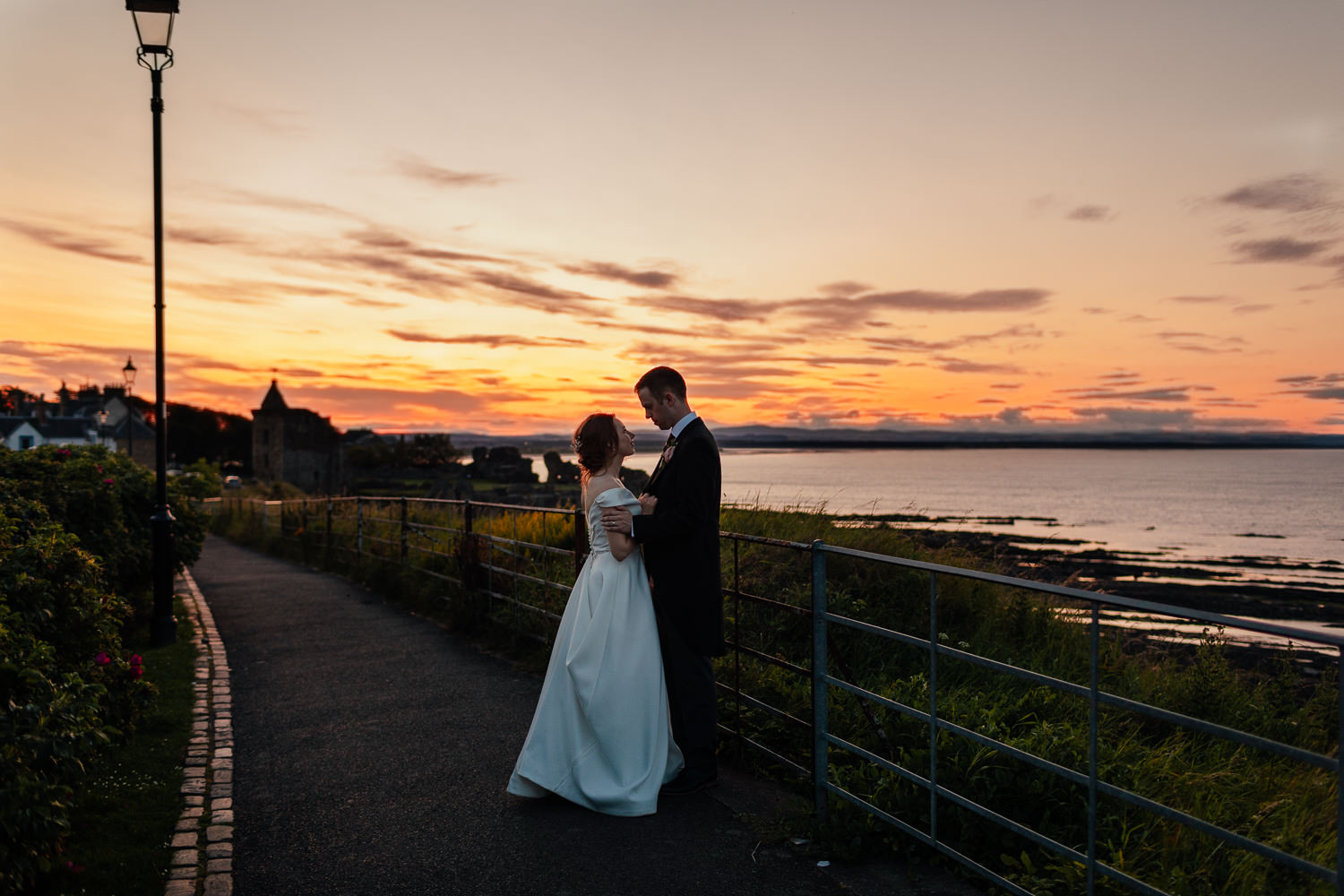 St Andrews Wedding Bride Groom Evening Portraits Golden Hour Sunset