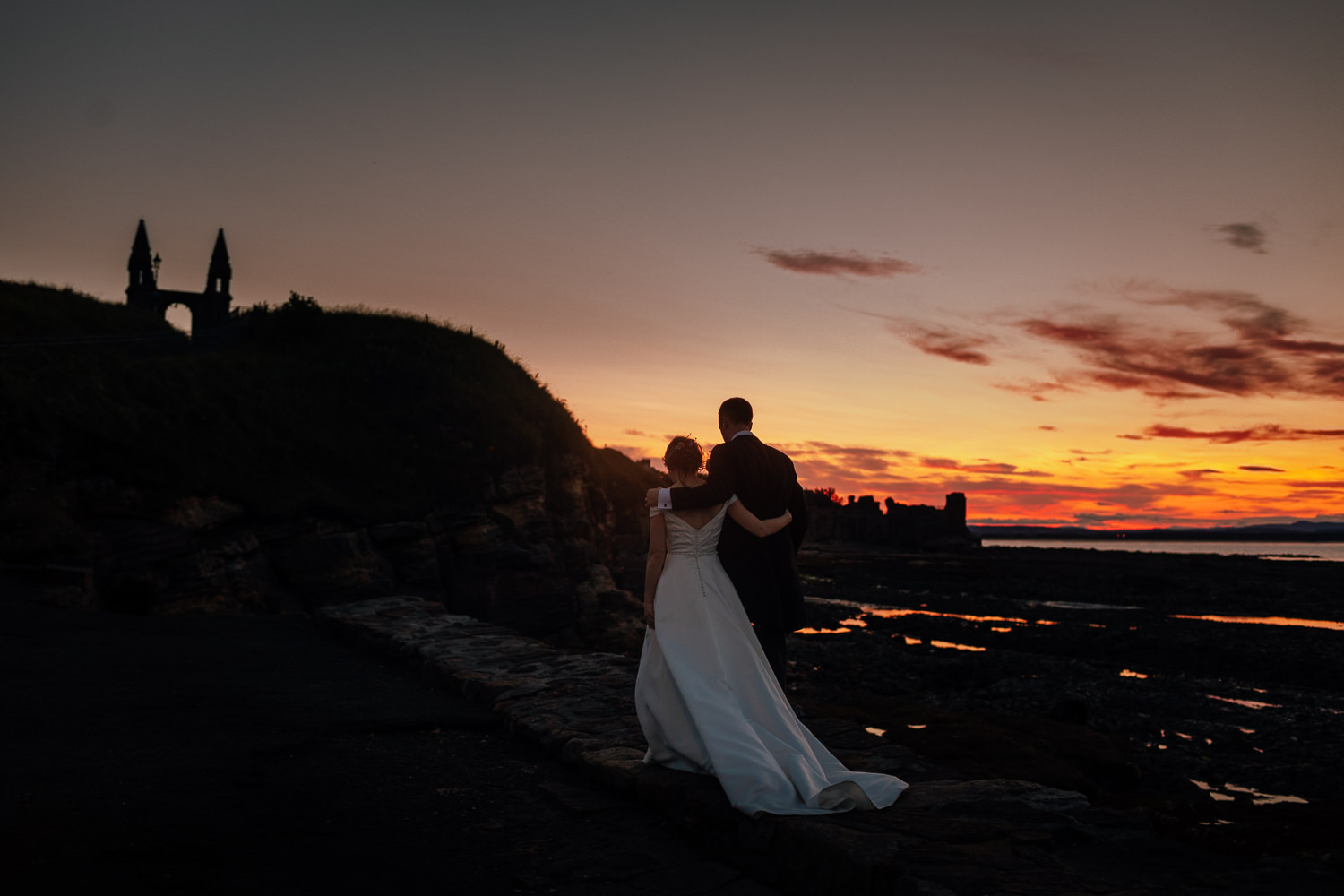 St Andrews Harbour Wedding Bride Groom Evening Portraits Golden Hour Sunset