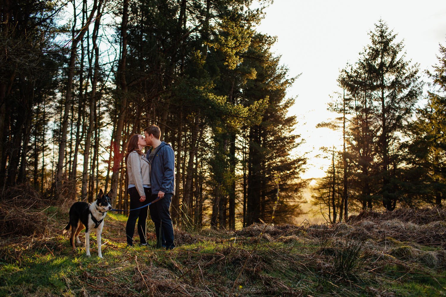 Couples Session Glasgow Carbeth Sunset Dog
