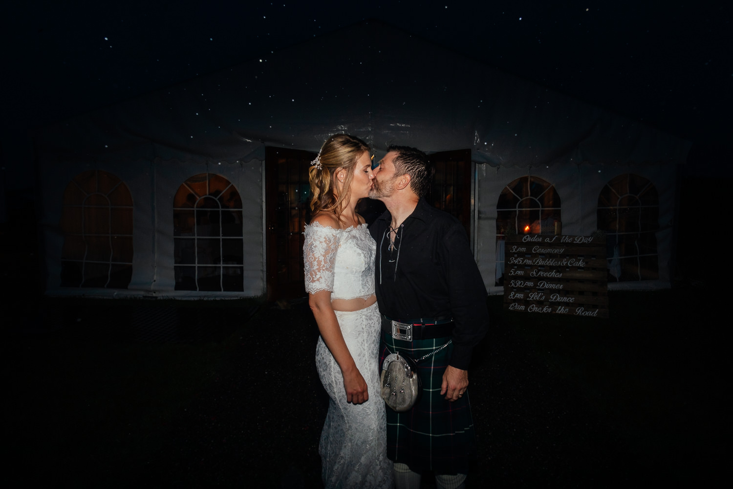 aberdeenshire farm wedding evening portrait bride groom outside in the dark