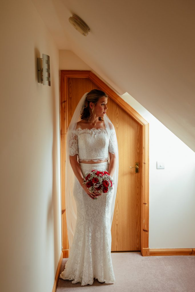 aberdeenshire farm wedding bridal portrait