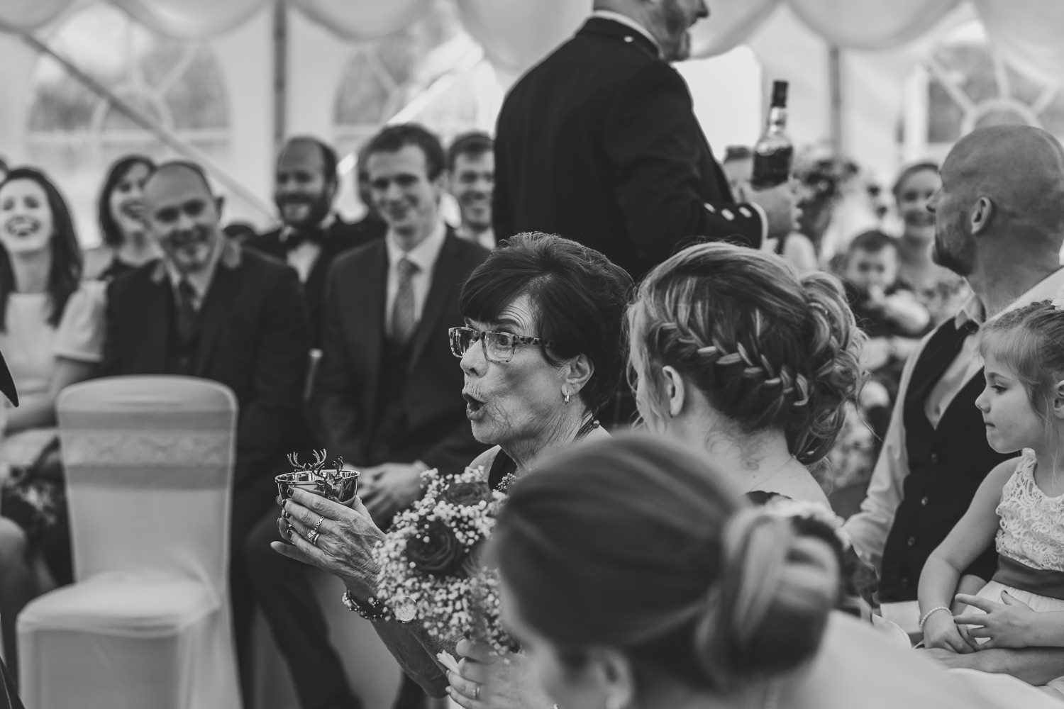 aberdeenshire farm wedding mother of bride drinking from quaich