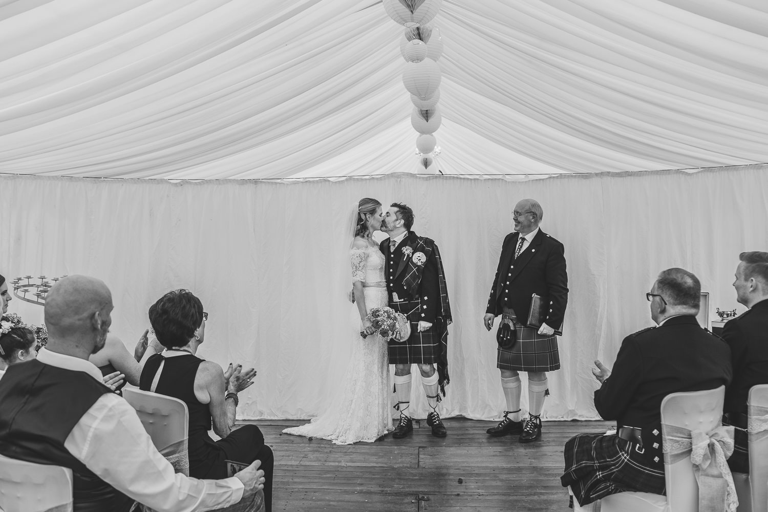 aberdeenshire farm wedding ceremony first kiss