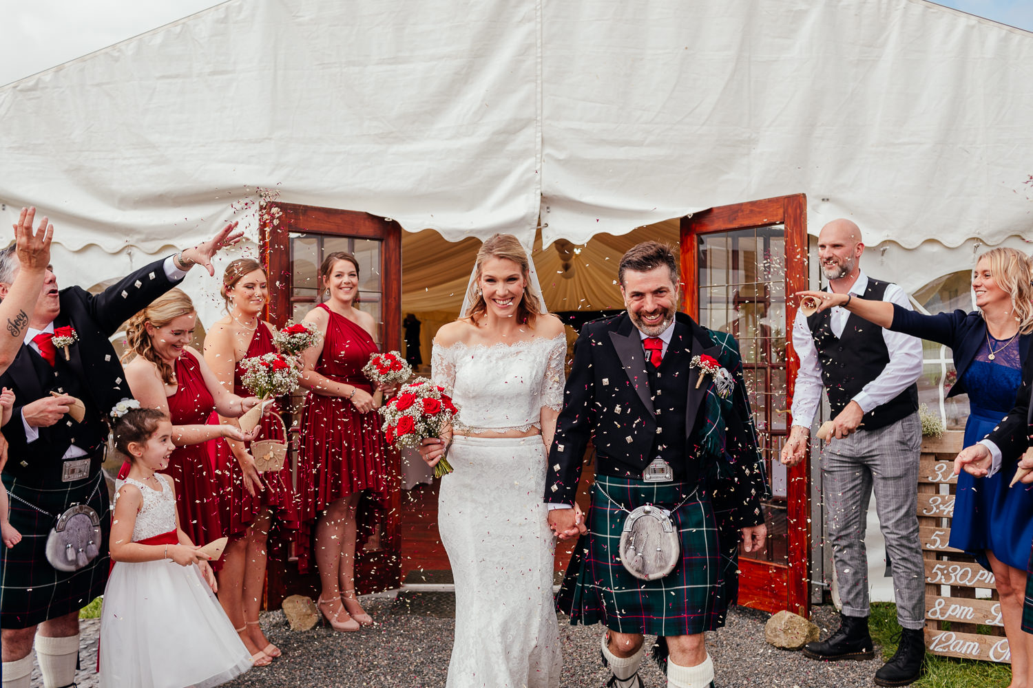 aberdeenshire farm wedding confetti bride groom