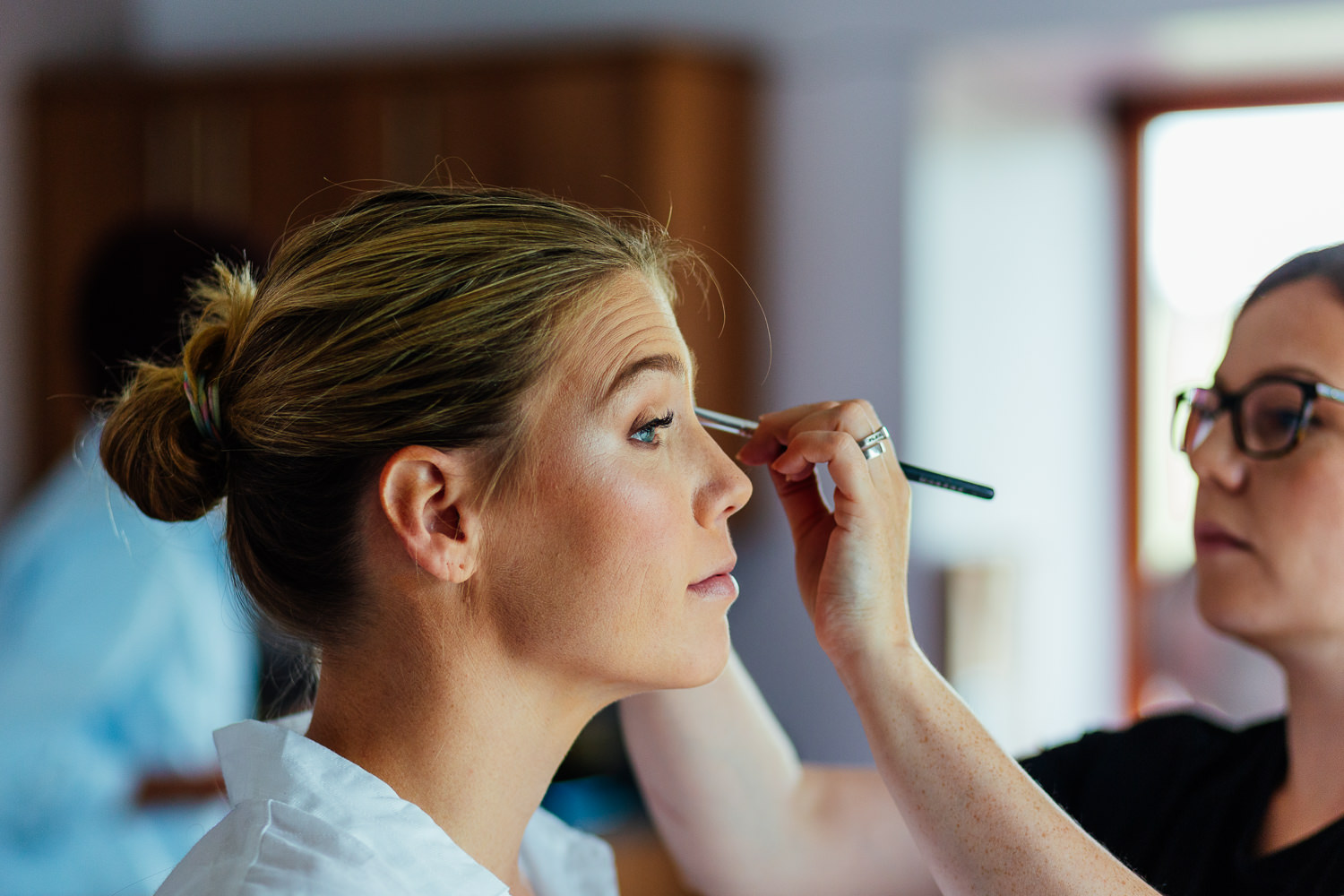 aberdeenshire farm wedding makeup prep on bride